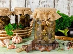 Домашен маринован патладжан с чесън, оцет и магданоз в бурканчета за зимата (консервирана зимнина) - снимка на рецептата